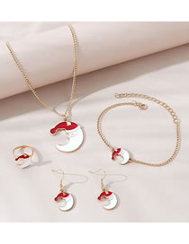 Fashion Gold Color Oil Painting Old Man Moon Bracelet Necklace Earring Set