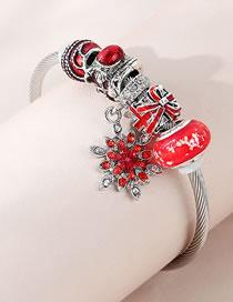 Fashion Red Snowflake Diamond Drop Oil Alloy Geometric Bracelet