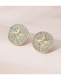 Fashion Golden Color Diamond Round Alloy Stud Earrings