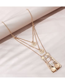 Fashion Gold Color Rice Scoop Geometric Shape Alloy Hollow Multilayer Necklace