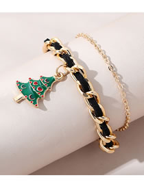 Fashion Gold Color Christmas Tree Oil Dripping Alloy Bracelet