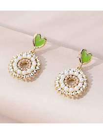 Fashion Gold Color Painted Oil Pearl Love Heart Alloy Earrings