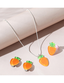 Fashion Carrot Resin Carrot Necklace Ring Earrings Childrens Set