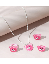 Fashion Red Bear Resin Ring Earrings Necklace Children Set