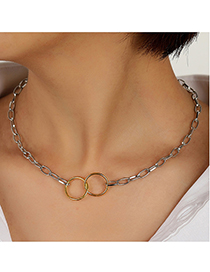 Fashion Color Mixing Circle Cross Contrast Alloy Hollow Necklace