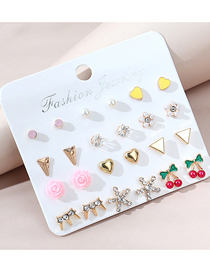 Fashion Color Mixing Diamond And Oil Drop Flower Pearl Alloy Earrings Set