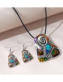 Fashion Color Mixing Geometric Alloy Contrast Color Necklace And Earrings Set