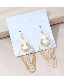 Fashion Golden Real Gold-plated Ballet Girls Believe In Hollow Earrings