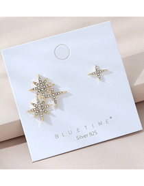 Fashion Golden Real Gold Plated Asymmetrical Gypsophila And Diamond Earrings