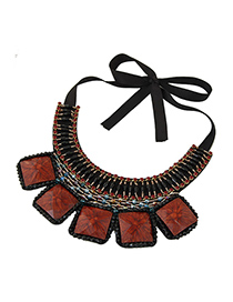 Fashion Black Geometric Square Turquoise Crystal Collar Necklace