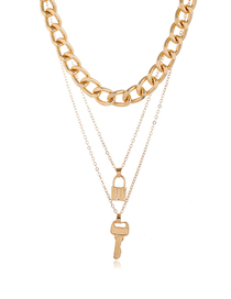 Fashion Gold Color Key Lock Alloy Thick Chain Multilayer Necklace