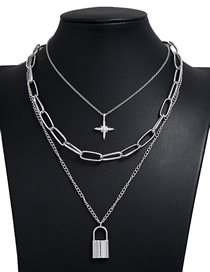 Fashion Silver Color Love Lock Moon Star Chain Alloy Multilayer Necklace