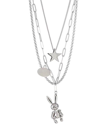 Fashion Five-pointed Star Five-pointed Star-eared Rabbit Multi-layer Long Necklace