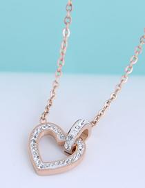 Fashion Rose Gold Diamond Love Heart Titanium Steel Necklace