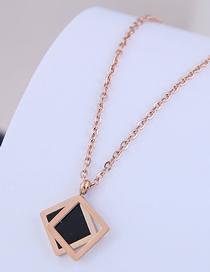 Fashion Rose Gold Geometric Square Titanium Steel Necklace