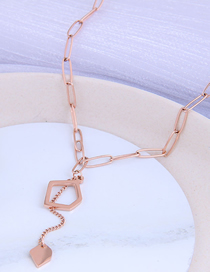 Fashion Rose Gold Geometric Hollow Pendant Titanium Steel Necklace