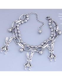 Fashion Silver Long-eared Rabbit Double Bracelet With Stainless Steel Beads