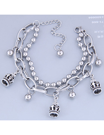 Fashion Silver Stainless Steel Bead Crown Double Bracelet