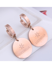 Fashion Rose Gold Round Letter Pendant Titanium Steel Earrings