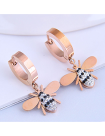 Fashion Rose Gold Diamond Bee Titanium Steel Earrings