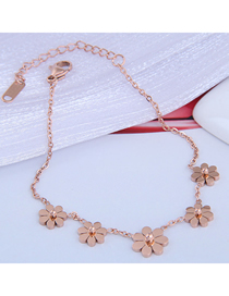 Fashion Rose Gold Flower Pendant Titanium Steel Bracelet