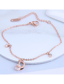Fashion Rose Gold Letter Pendant Inlaid Zircon Titanium Steel Bracelet