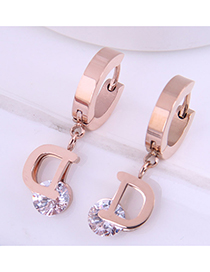 Fashion Rose Gold Color Titanium Steel Letter Geometric Round Earrings