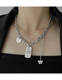 Fashion Silver Stainless Steel Metal Chain Butterfly Pendant Multilayer Necklace