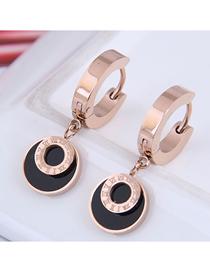 Fashion Rose Gold Titanium Steel Round Digital Stud Earrings