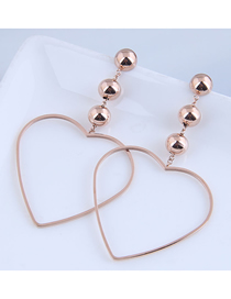 Fashion Rose Gold Love Hollow Titanium Steel Stud Earrings