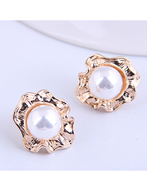 Fashion Gold Color Flower Pearl Alloy Earrings