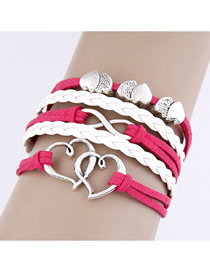 Fashion Red Double Layer Love Alloy Handmade Multi-layer Braided Bracelet
