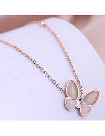 Fashion Gold Color Butterfly Diamond Opal Titanium Steel Necklace