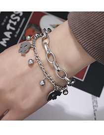 Fashion Silver Color Stainless Steel Elephant Double Bracelet