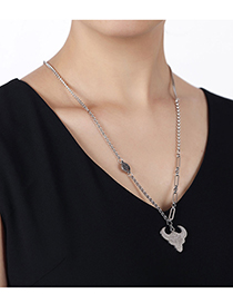 Fashion Silver Color Stainless Steel Auspicious Bull Necklace
