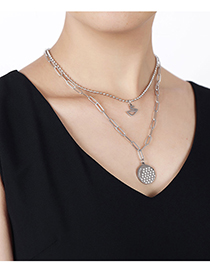 Fashion Silver Color Stainless Steel Jiyuan Brand Swan Double Chain Necklace