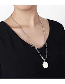 Fashion Silver Color Stainless Steel Round Brand Swan Necklace