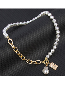 Fashion White Pearl Chain Stitching Ot Buckle Necklace