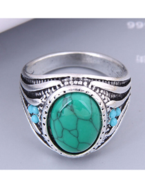 Fashion Green Alloy Inlaid Turquoise Carved Ring