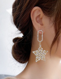 Fashion Golden Five-pointed Star Earrings With Diamonds