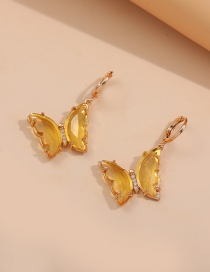 Fashion Transparent Yellow Multicolor Zircon Butterfly Earrings