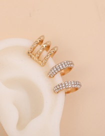 Fashion Golden Full Diamond Alloy C-type Zircon Ear Clip Set