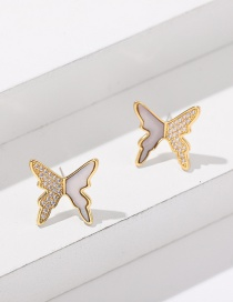 Fashion Butterfly Diamond Butterfly Stud Earrings