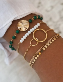 Fashion Green Sequined Tassel Beaded White And Green Contrast Color 4-piece Bracelet