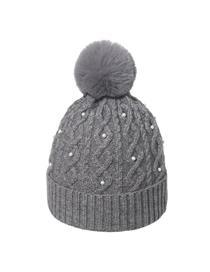 Fashion Dark Gray Pearl Curled Wool Ball Cap