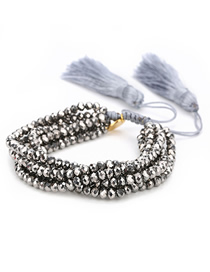 Fashion Grey Beads Multilayer Crystal Evil Eye Rice Bead Bracelet Beaded