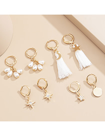 Fashion Golden Asymmetric Star Disc Earrings