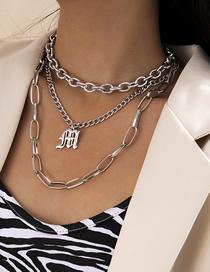 Collar De Aleación Con Símbolo De Cadena Cruzada De Borla Multicapa