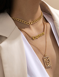Fashion Golden Tassel And Diamond Dragon-shaped Tag Letter Necklace Set