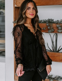 Fashion Black Lace Embroidered Lace Bow Tie Top